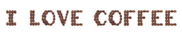 Chicchi di caffè tostato ad alta risoluzione in lettere