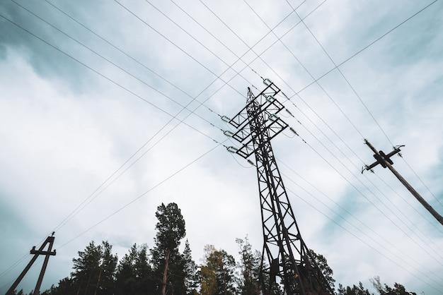 Linee elettriche ad alta tensione tra alberi sotto il cielo nuvoloso