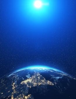 Luna epica altamente dettagliata sopra l'orizzonte del mondo