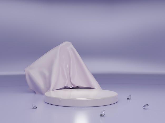 Fase dell'evento viola 3d di alta qualità o vista laterale del podio del prodotto