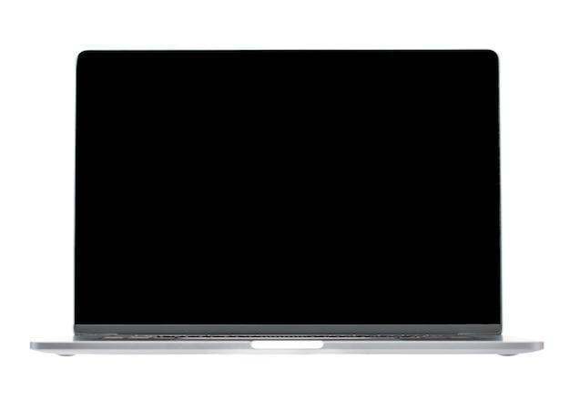 Computer notebook di lusso hightech piatto argento con coperchio aperto che mostra lo schermo nero. display in sfondo bianco isolato