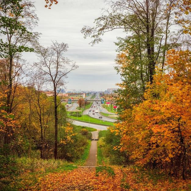 Autostrada nel paesaggio urbano autunnale di san pietroburgo dalle colline di pulkovo. vista autunnale del parco cittadino e dell'autostrada pulkovo a san pietroburgo. russia.