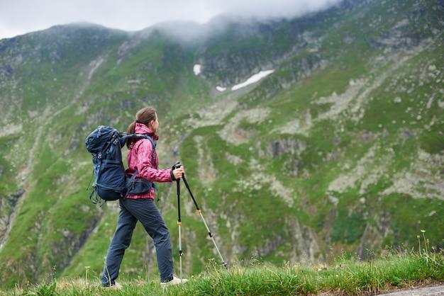 Ragazza della viandante in attrezzatura moderna con i bastoni blu di trekking e dello zaino che cammina in montagne rocciose verdi con le nuvole nebbiose