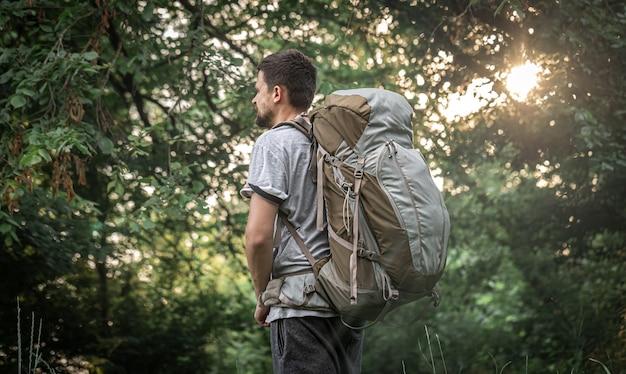 Escursionista su un'escursione con un grande zaino su uno sfondo sfocato della foresta.