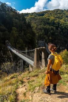 Un escursionista guardando la passerelle holtzarte, larrau. nella foresta o nella giungla di irati, a nord della navarra in spagna e nei pirenei atlantici della francia
