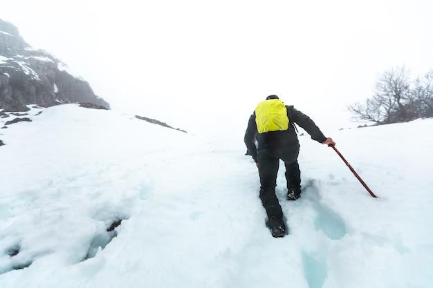 Viandante che cammina attraverso un paesaggio invernale