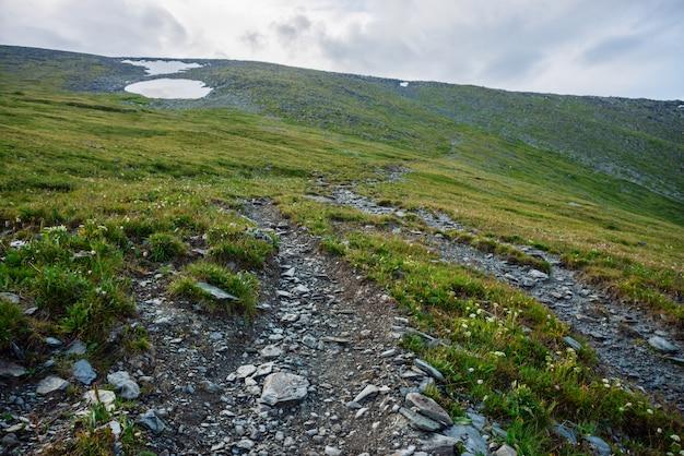 Sentiero escursionistico attraverso le montagne. sentiero di montagna trekking. atmosferico paesaggio alpino minimalista con sentiero pietroso tra neve ed erbe negli altopiani. sentiero su per la collina. in salita. scenario.