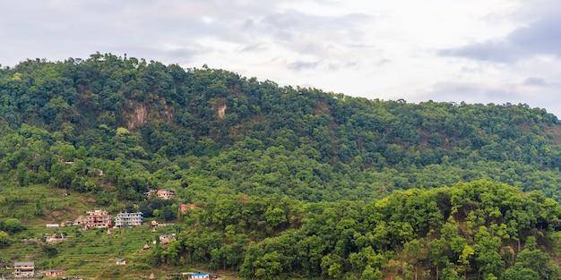 Colline del nepal, ricoperte di giungla. paesaggio con foresta pluviale tropicale in una luminosa giornata estiva. immagine di riferimento per il disegno cg, pittura opaca. foto d'archivio.