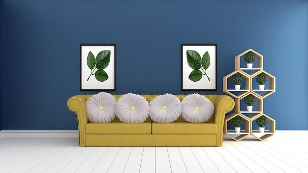 Vita di hipster soggiorno interior design con parete stile ...