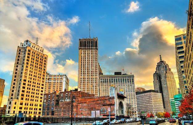 Edifici storici nel centro cittadino di detroit michigan, stati uniti