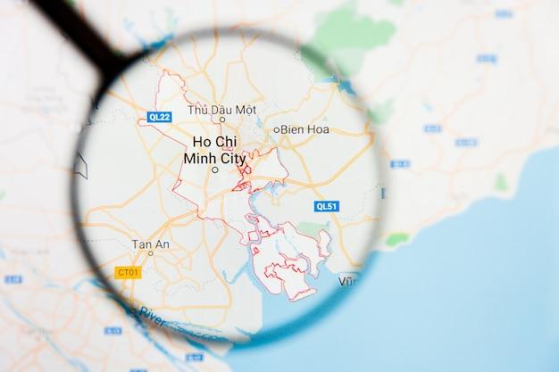 Concetto illustrativo di visualizzazione della città di ho chi minh city, vietnam sullo schermo di visualizzazione tramite la lente d'ingrandimento