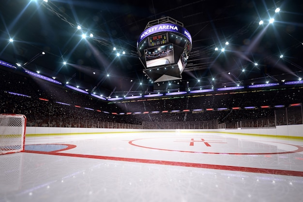 Hockey arena 3d rendering