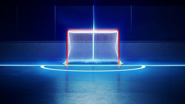 Pista di pattinaggio e obiettivo dell'hockey