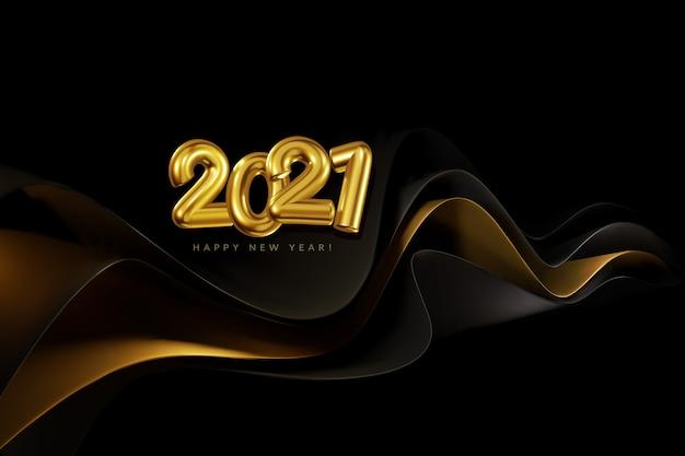Banner di vacanza con numeri d'oro volumetrici 2021 sullo sfondo di onde d'oro e nere. sfondo realistico di capodanno per il nuovo 2021. modello per cartoline, presentazione.