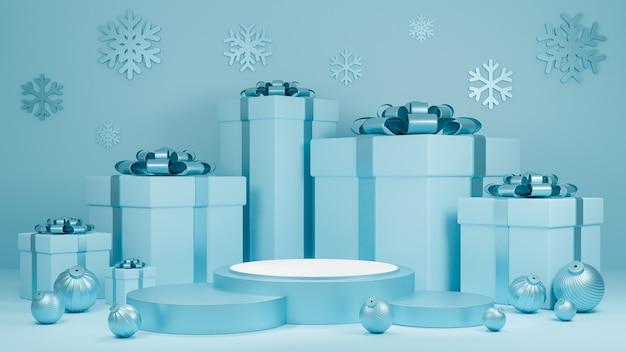 Vacanze di natale e felice anno nuovo sfondo di colore blu pastello con una confezione regalo e display sul podio