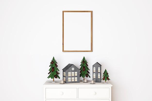 Mockup natalizio con cornice in legno