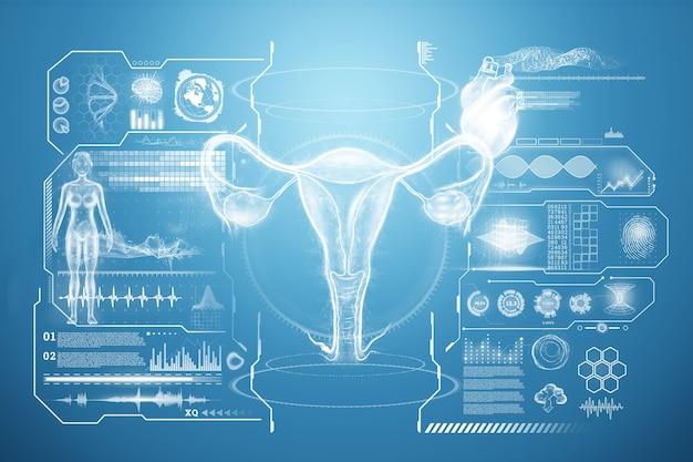 Ologramma dell'organo femminile dell'utero con diverse indicazioni mediche, ecografia dell'utero. concetto di ultrasuoni, ginecologia, ostetricia, ovulazione, gravidanza. illustrazione 3d, rendering 3d.
