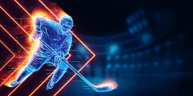 Ologramma di una silhouette di giocatore di hockey in fiamme
