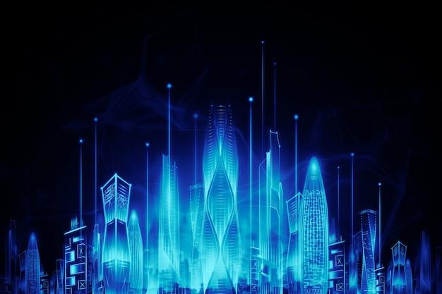 Neon di notte della città intelligente ologramma su sfondo scuro, concetto di tecnologia di trasmissione di grandi quantità di dati. rendering 3d, illustrazione 3d.