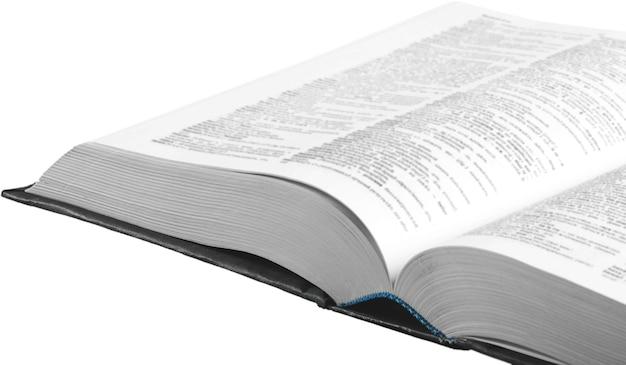 Libro della sacra bibbia su sfondo bianco
