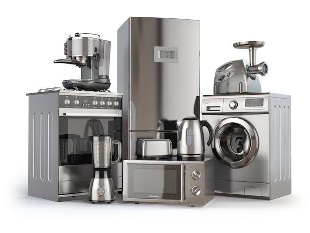 Elettrodomestici. cucina a gas, frigorifero, microonde e lavatrice, frullatore, tostapane, macchina per il caffè, tritacarne e bollitore. illustrazione 3d