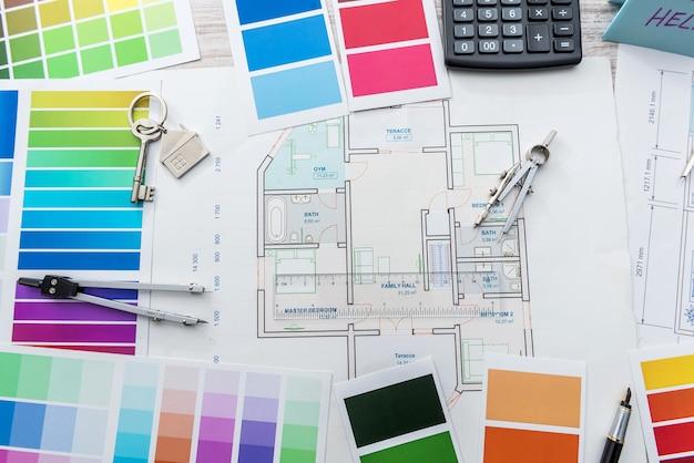 Progetto casa con tavolozza di colori. architettura di design, ristrutturazione casa