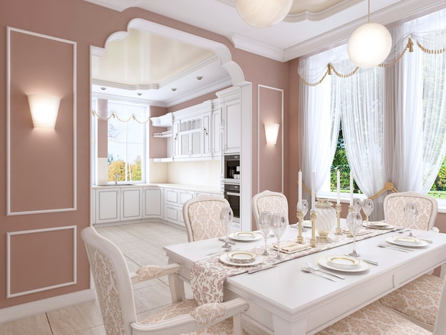Home cinema in soffitta in stile moderno nei colori bordeaux e bianco. rendering 3d