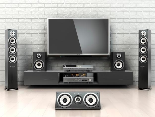 Sistema home cinema diffusori tv lettore e ricevitore 3d