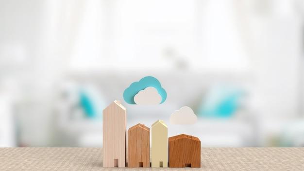 La casa e il cloud per il rendering 3d del concetto di tecnologia domestica intelligente