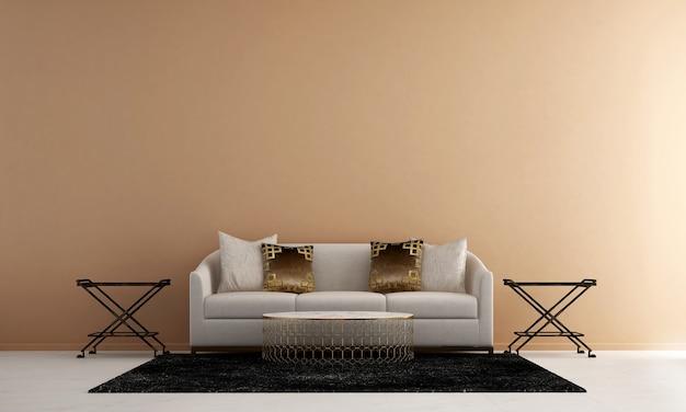 Casa e decorazione e mobili del design d'interni del soggiorno e sfondo giallo della parete