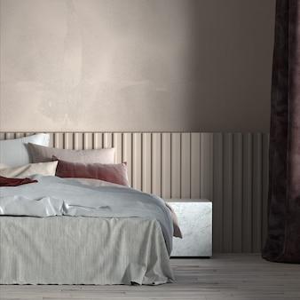 Mobili per la casa e la decorazione simulano il design degli interni della camera da letto e lo stile minimo del letto e il rendering 3d dello sfondo della parete vuota