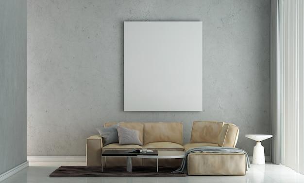Mobili per la casa e la decorazione simulano il design degli interni del soggiorno e lo stile minimale del divano e la cornice vuota della tela su sfondo del muro di cemento 3d rendering