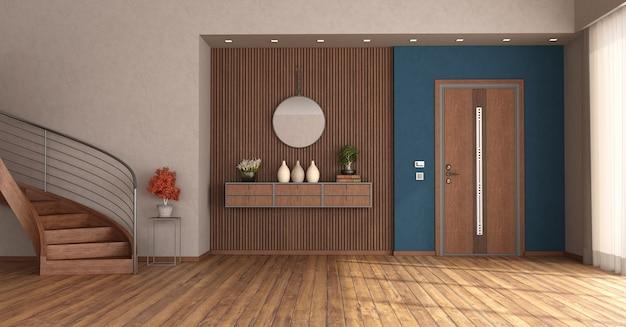 Ingresso di casa con porta d'ingresso chiusa