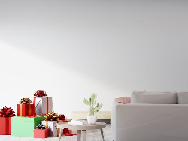 Rendering 3d interni casa con regalo di natale Foto Premium