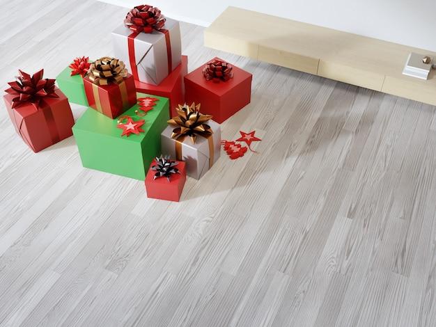 Rendering 3d interni casa con regalo di natale