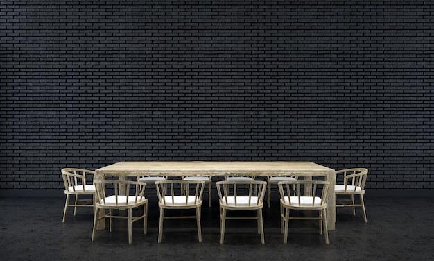 Sfondo interno casa con tavolo e sedie in legno e arredamento simulato nella sala da pranzo e texture 3d muro di mattoni neri