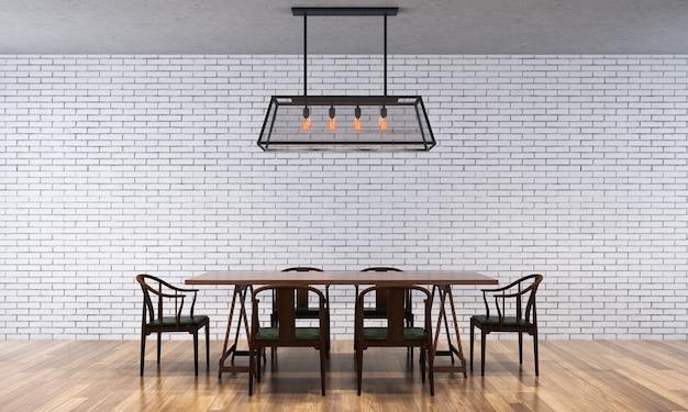 Sfondo interno casa con tavolo e sedie in legno e arredamento mock up nella struttura del muro di cemento della sala da pranzo 3d render