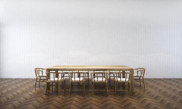 Sfondo interno casa con tavolo e sedie in legno e arredamento mock up nella sala da pranzo e texture 3d muro di cemento vuoto rendering