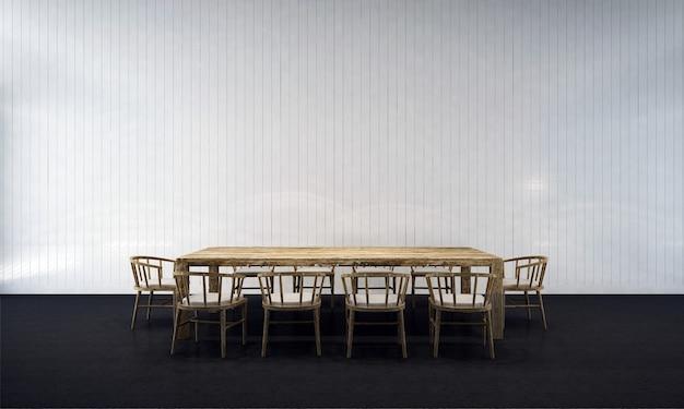 Sfondo interno casa con tavolo e sedie in legno e arredamento simulato nella sala da pranzo e rendering 3d della struttura della parete vuota