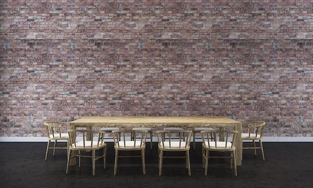 Sfondo interno casa con tavolo e sedie in legno e arredamento mock up nella sala da pranzo e texture muro di mattoni rossi 3d render