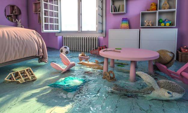 Interno di casa, camera da letto con giocattoli allagati