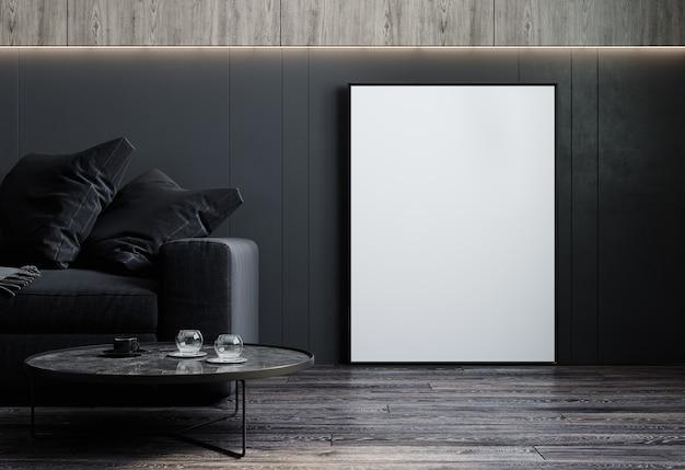 Interno di casa, interno di lusso moderno soggiorno scuro, parete vuota nera mock up, rendering 3d