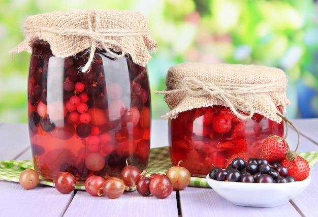 Marmellata di frutti di bosco fatta in casa sul tavolo di legno su sfondo luminoso