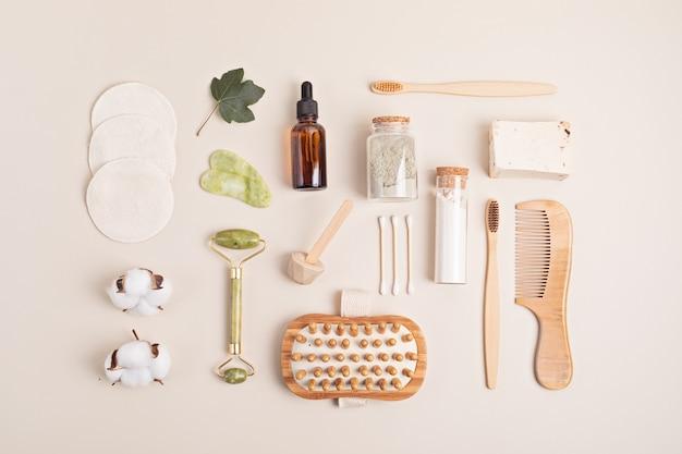 Idea per il giorno della spa casalinga. accessori ecologici bio riutilizzabili per la cura personale. stile di vita sostenibile a rifiuti zero. flatlay, vista dall'alto