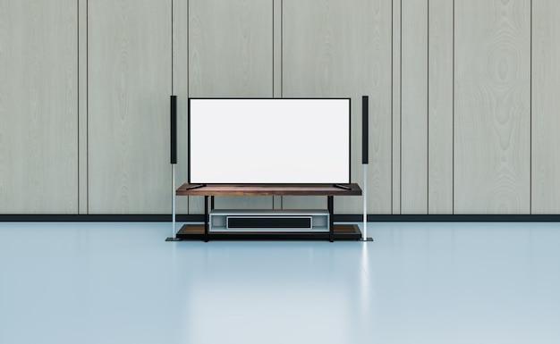 Home theater in camera nera e pavimento in legno, rendering di illustrazioni 3d