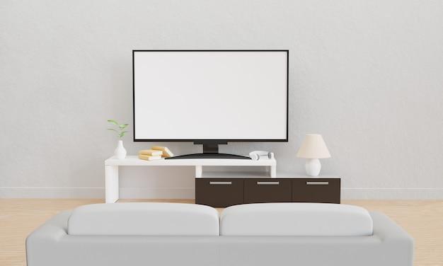 Home theatre sul tavolo bianco e marrone con cuffie e libri. un divano bianco sul pavimento in legno. rendering 3d.