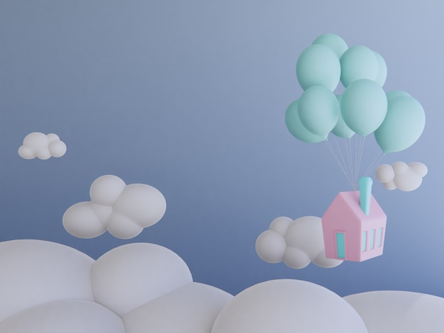 La casa con impulso che galleggia in sky.3d rende il fondo.