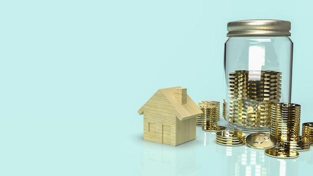 La casa in legno e monete per risparmiare denaro rendering 3d contenuto.