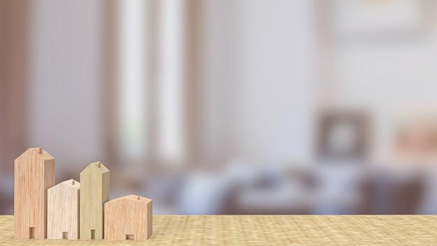 Il giocattolo in legno per la casa nel soggiorno per il rendering 3d del concetto di proprietà o edificio