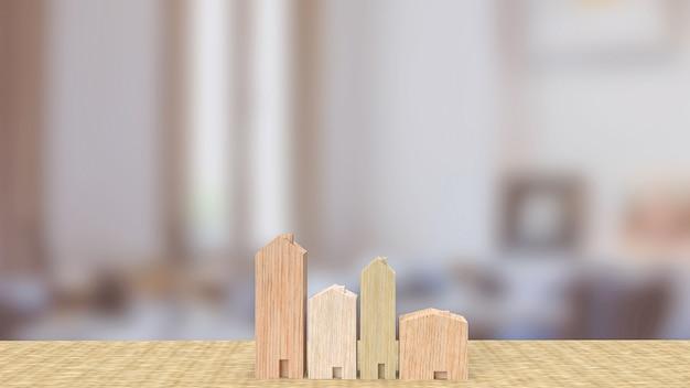 Il giocattolo di legno per la casa nel soggiorno per il rendering 3d del concetto di proprietà o edificio